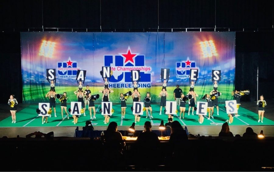 The cheerleaders perform at UIL State Finals.